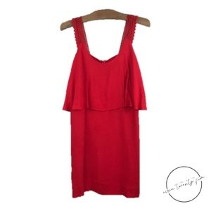 Anthropologie Maeve Sleeveless Layered Red Dress